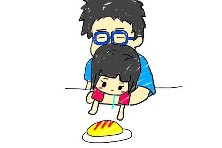 食べ物を見つめる子供と父親の絵