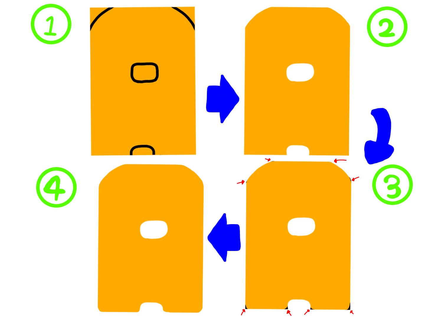 Aの切り方の手順画像
